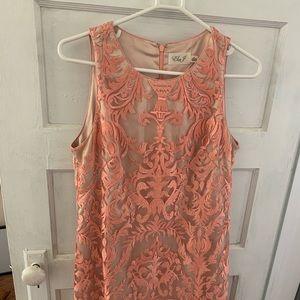 Eliza J Rose Gold Sheath Cocktail Dress